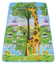 Smiles Creation Play Mat Alphabets And Animal Print - Green And Blue