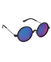 Spiky Round Sunglasses With Case - Black and Blue
