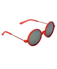 Spiky Round Sunglasses With Case - Red and Grey