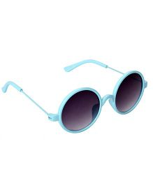 Spiky Round Sunglasses With Case - Blue and Grey