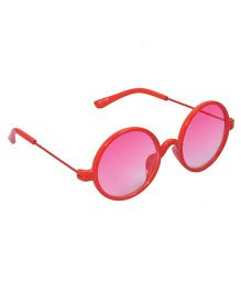 Spiky Round Sunglasses With Case - Red and Pink