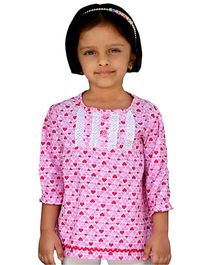 Snowflakes Three Forth Sleeves Tunic Top Hearts Print - Pink