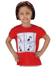 Snowflakes Half Sleeves T-Shirt Comic Strip Print - Red