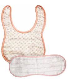 Kadambaby Muslin Bib And Burp Cloth Set of 2 - Pink