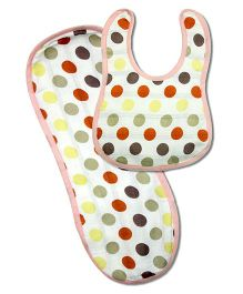 Kadambaby Muslin Bib And Burp Cloth Polka Dots Set of 2 - Multi Color
