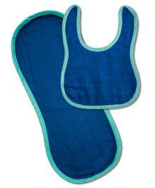Kadambaby Muslin Bib And Burp Cloth Set of 2 - Blue