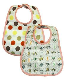 Kadambaby Muslin Baby Bibs Polka Dots And Animal Print - Set of 2