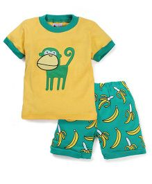 Adores Monkey Print Night Suit - Green & Yellow