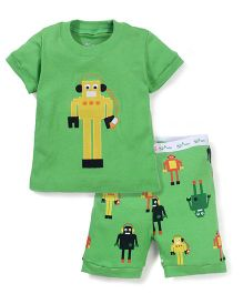 Adores Robot Print Night Suit - Green