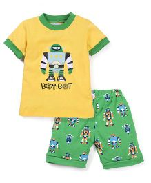 Adores Robot Print - Green & Yellow