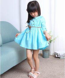 The KidShop Elegant Dress With A Cute Belt & Peter Pan Neck - Blue
