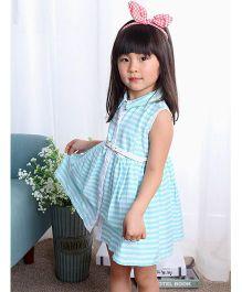 The KidShop Sleeveless Striped Dress - Sky Blue