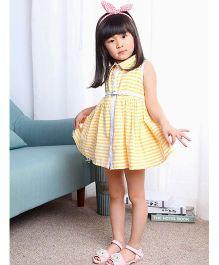 The KidShop Sleeveless Striped Dress - Yellow
