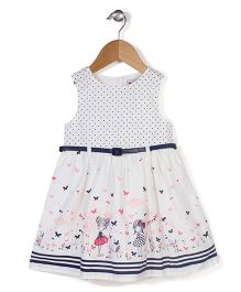 Adores Butterfly & Dot Print Dress With Attached Belt - White