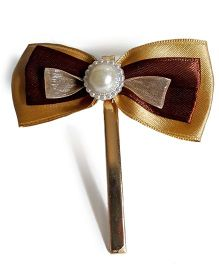 Sugarcart Princess Bow With Emblishments On Aligator Clip - Golden & Brown