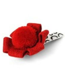 Sugarcart Crochet Flower With Pompom On Tictak Clip - Red