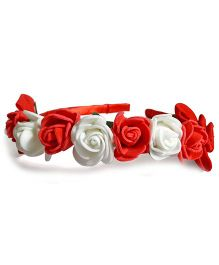 Sugarcart Rose Crown With Bows On Hairband - Red & White
