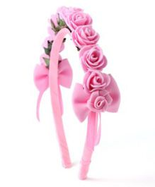 Sugarcart Rose Crown With Bows On Hairband - Pink