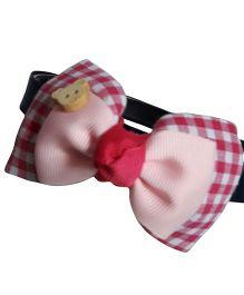 Sugarcart Multi Layered Checks Bow Hairband - Pink & White