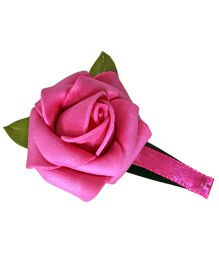 Sugarcart Rose With Leaves On Tictac Clip - Fuschia