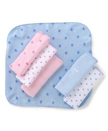 Babyhug Stars Dots And Solid Color Napkins Blue Pink White  - Pack Of 6