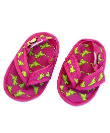SnugOns Dinosaur Printed Baby SlipOns - Pink