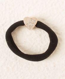 Bunchi Heart Crystal Rubber Band - Black