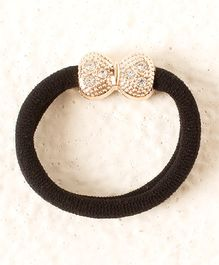 Bunchi Bow Crystal Rubber Band - Black