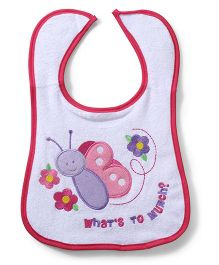 Mee Mee Velcro Closure Bib Butterfly & Floral Embroidery - White And Pink