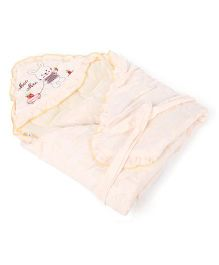 Mee Mee Hooded Baby Wrapper Bunny Embroidery MM 98071 - Cream