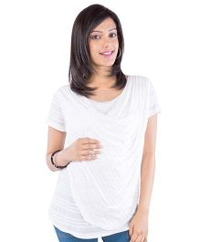 Morph Short Sleeves Cowl Maternity Top - Off White
