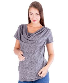 Morph Printed Cowl Nursing Top - Charcoal Grey