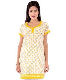 Morph Maternity Jaipuri Print Nursing Kurta - White & Yellow