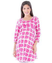 Morph Long Sleeves Nursing Kurta - White & Pink