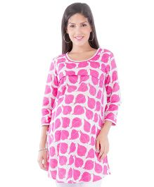 Morph Long Sleeves Nursing Kurta - White & Pink