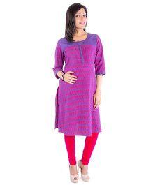 Morph Ikat Print Nursing Kameez - Purple & Pink
