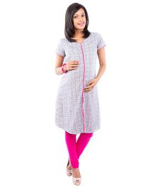 Morph Short Sleeves Printed Nursing Kameez - White & Black