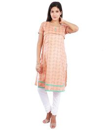 Morph Half Sleeves Printed Nursing Kameez - Peach