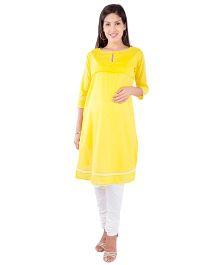 Morph Long Sleeves Nursing Kameez - Bright Yellow