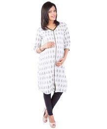 Morph Printed Nursing Kameez - White & Grey