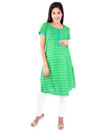 Morph Half Sleeves Nursing Kameez - Lime Green