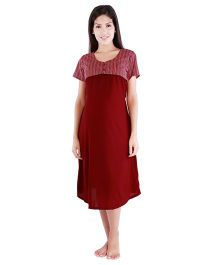 Morph Half Sleeves Nursing Night Dress -Maroon