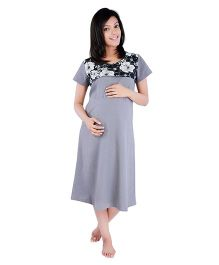 Morph Half Sleeves Nursing Night Dress - Grey
