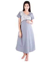 Morph Printed Nursing Nighty - Grey