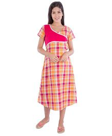 Morp Checks Pattern Nursing Nighty - Multicolor