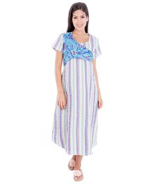 Morph Half Sleeves Stripes Patterm Nursing Nighty - Multicolor