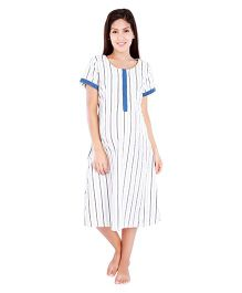 Morph Half Sleeves Nursing Night Dress - Cream