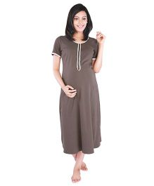 Morph Half Sleeves Feeding Night Dress - Brown