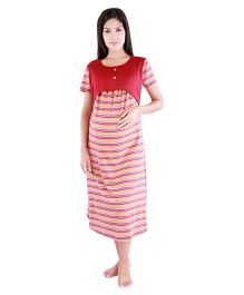 Morph Half Sleeves Stripes Pattern Feeding Nighty - Maroon