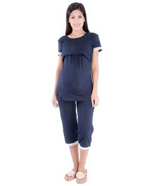 Morph Half Sleeves Nursing Pajama Set - Navy Blue